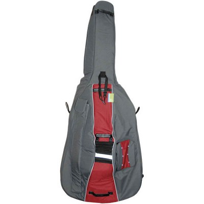 Petz Double Bass Bag 3/4 GR/RD